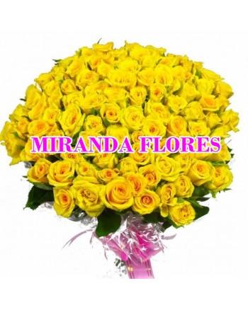 05- BUQUÊ DE 120 ROSAS AMARELAS