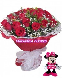 14- BOUQUET 12 ROSAS  COM MINNIE DE PELUCIA
