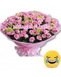 11- BOUQUET 16 ROSAS COR ROSA E ALMOFADA Emoticons Do Whatsapp