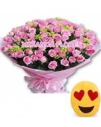 12- BOUQUET 16 ROSAS COR ROSA E ALMOFADA Emoticons Do Whatsapp