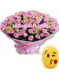 13- BOUQUET 16 ROSAS COR ROSA E ALMOFADA Emoticons Do Whatsapp